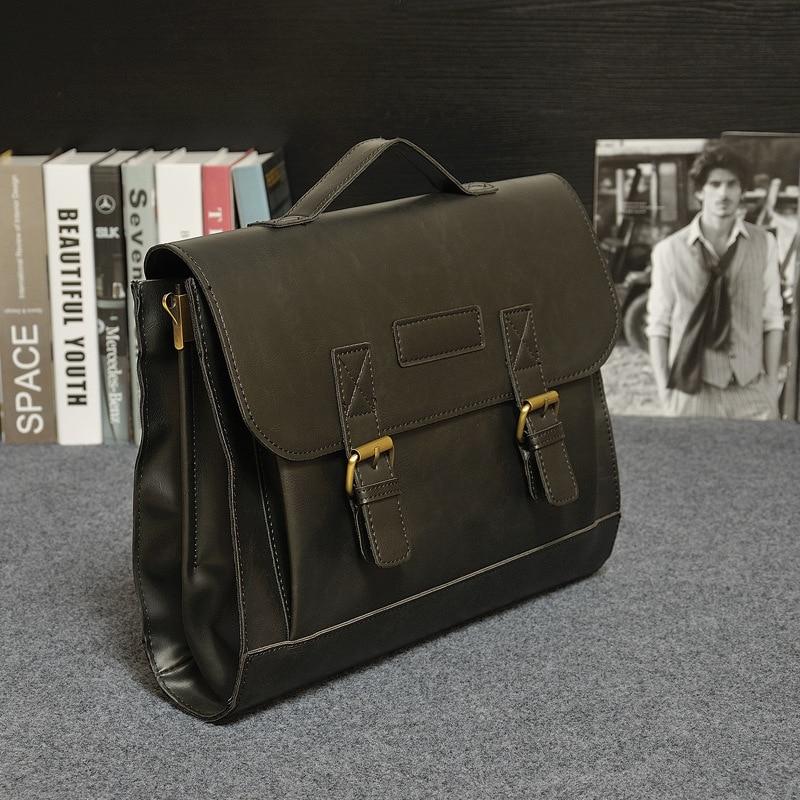 Vintage Män Business Leather Läder Handväska Travel Causal - Portföljer