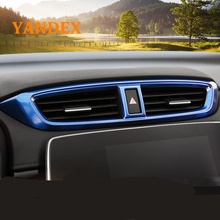 Yandex Car Central air-conditioning outlet cover brushed style stainless steel decoration trim 1pcs For Honda 2017 CRV CR-V
