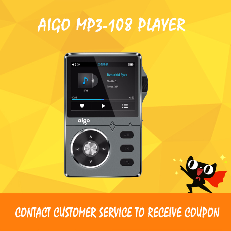 AIGO MP3-108 Player Mini Hifi MP3 Player WM8740 Chip Stereo DAC Audio Music Player DSD Digital Portable MP3 Player With Screen