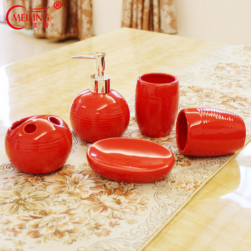 Modern Home Decor Ceramic Red Bathroom Set 5PCS Toothbrush Holder Soap Toothpaste Dispenser Toilet Accessories Storage Organizer image