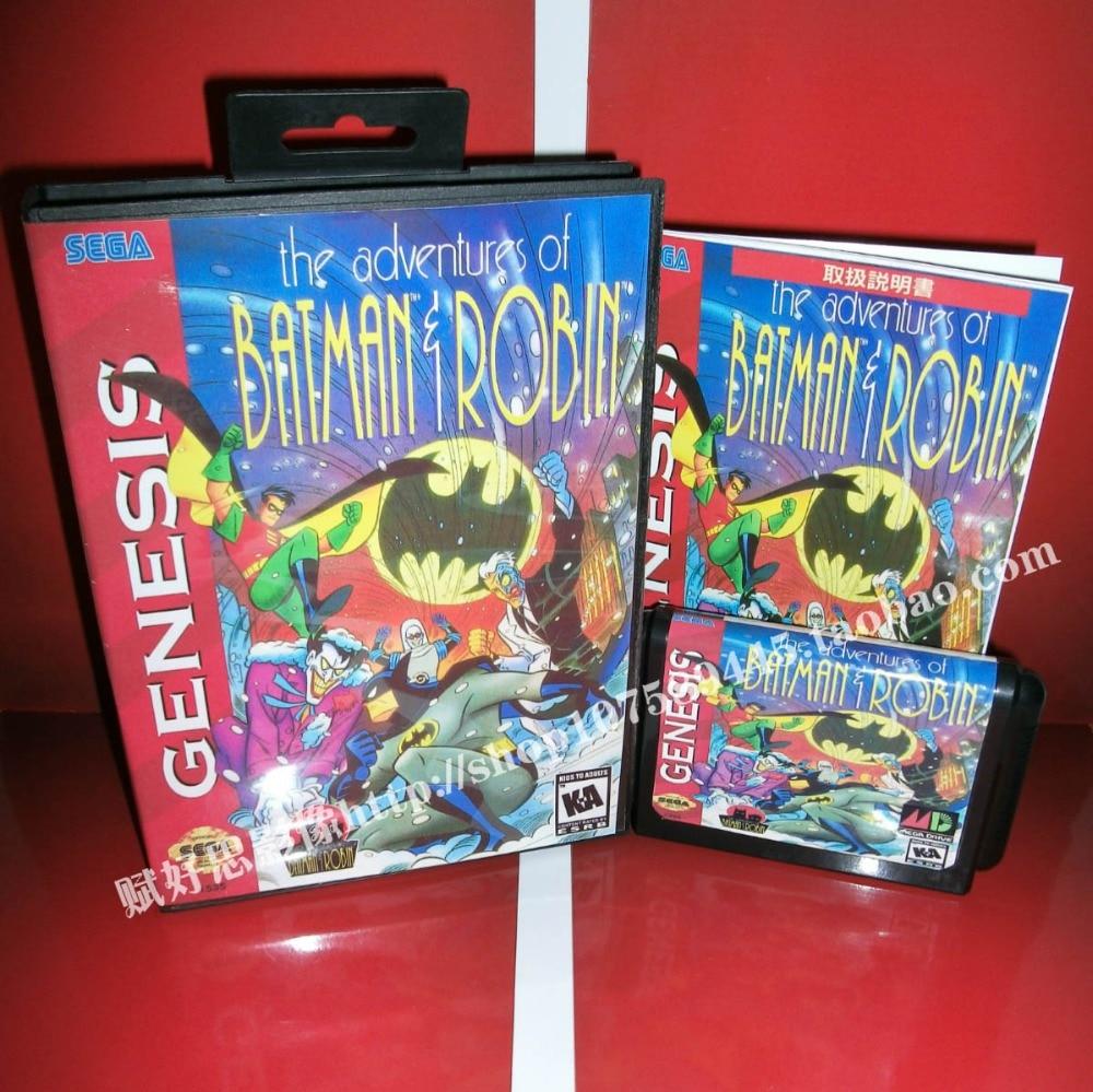 Sega MD game - The adventures of batman & robin with Box and Manual for 16 bit Sega MD game Cartridge Megadrive Genesis system