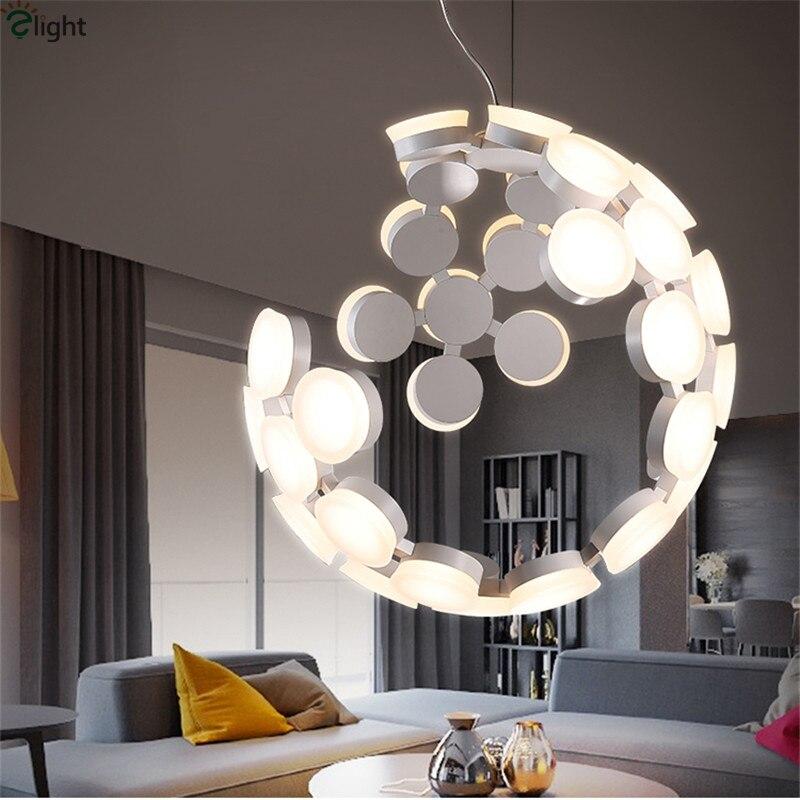0279af4f51f Modern Round Metal Led Pendant Lights Lustre Acrylic Dining Room Led  Pendant Lamp Bedroom Pendant Light Hanging Light Fixtures-in Pendant Lights  from Lights ...