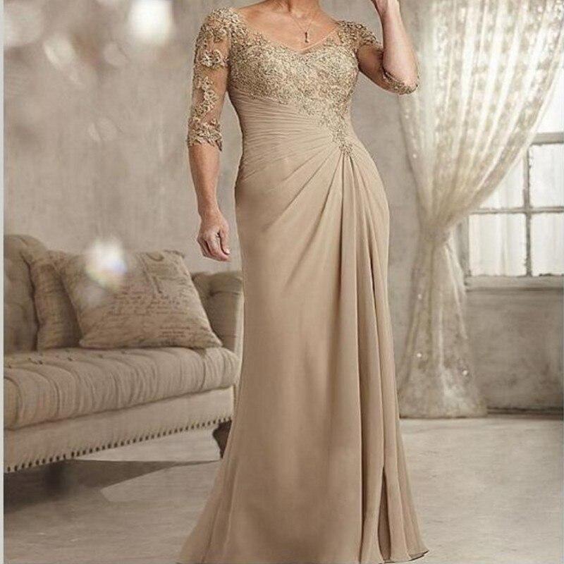 Mother Of The Bride Dresses Half Sleeve V-Neck Appliques A-Line Elegant Long Formal Evening Women Party Gowns Mother Dress
