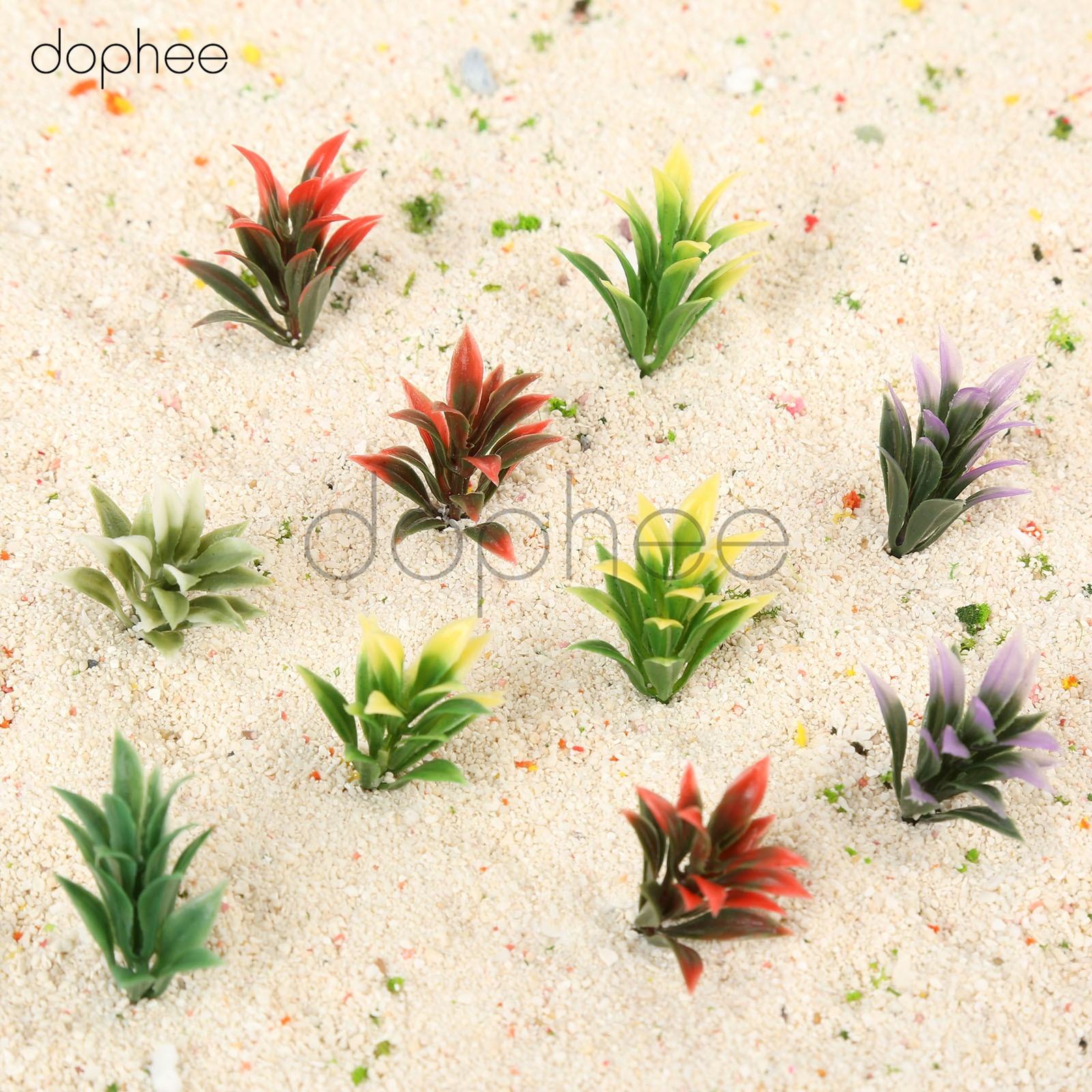 dophee 100pcs Mixed Colors Model Flower Grass Plant Grass 1/100 Model Railway Park Garden Scene Layout