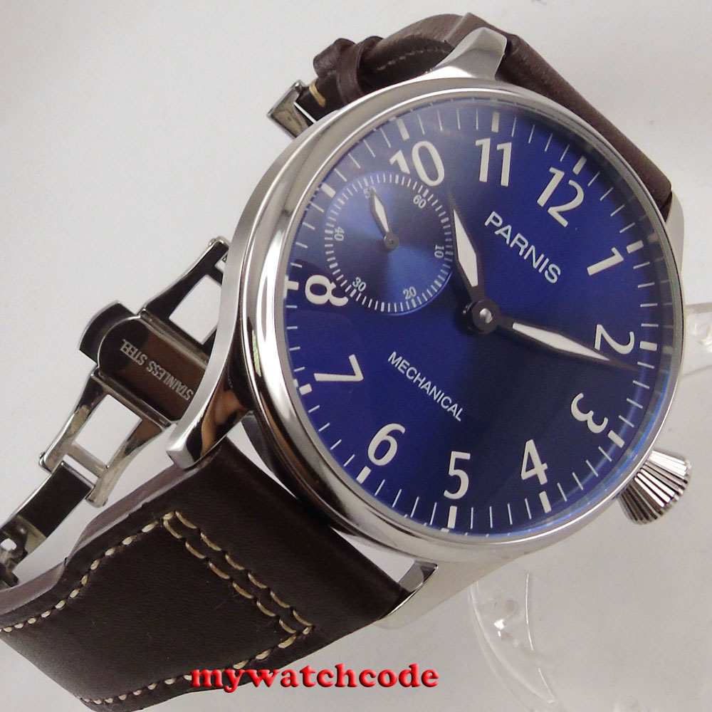 new arrive famous brand 44mm parnis blue dial luminous marks 6497 movement hand winding mens watch цена и фото