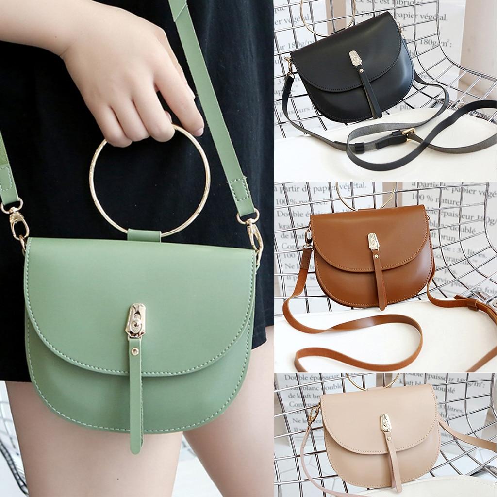 Women Soft Leather Round Handbag Simple Diagonal Cross-Body Color Saddle Bag Small New