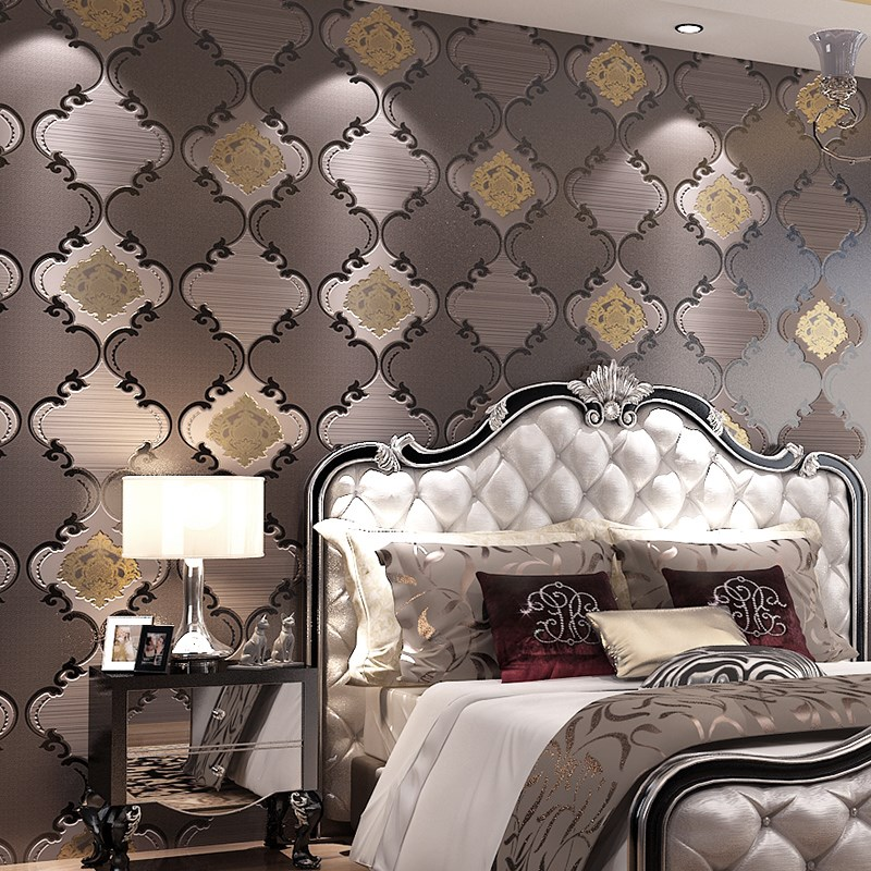 High Quality European Style Wallpaper 3D Embossed Flocking Non-Woven Thicken Luxury Wallpaper Living Room Bedroom Home Decor 3 D european high quality luxury non woven wallpaper roll cream gilt flocking embossed textured feature bedroom home decor papeles p