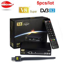 Best 5pcs V8 Super DVB-S2 Satellite TV Receiver with USB WIFI Support PowerVu Biss Key Clines Newcamd Youtube Youporn
