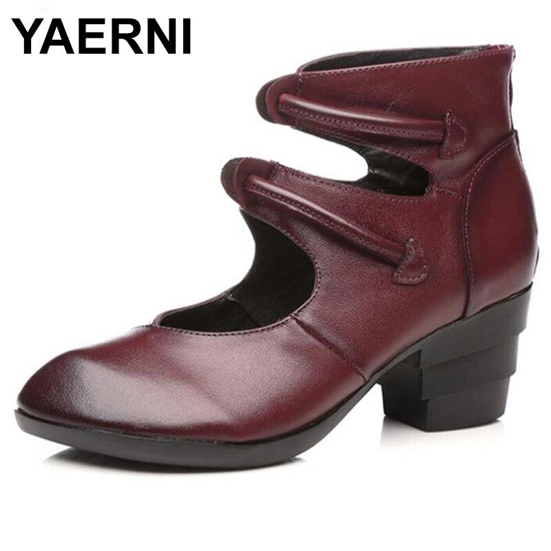 YAERNI New Retro Handmade Genuine Leather Shoes High Heels Comfortable Pointed Fashion Shoes Wedding Non slip
