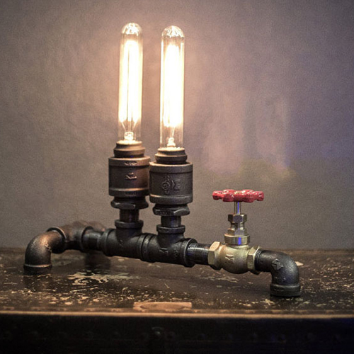 Retro Industrial Loft Water Pipe Table Lamp With Dimming Switch Edison E27 Desk Iron
