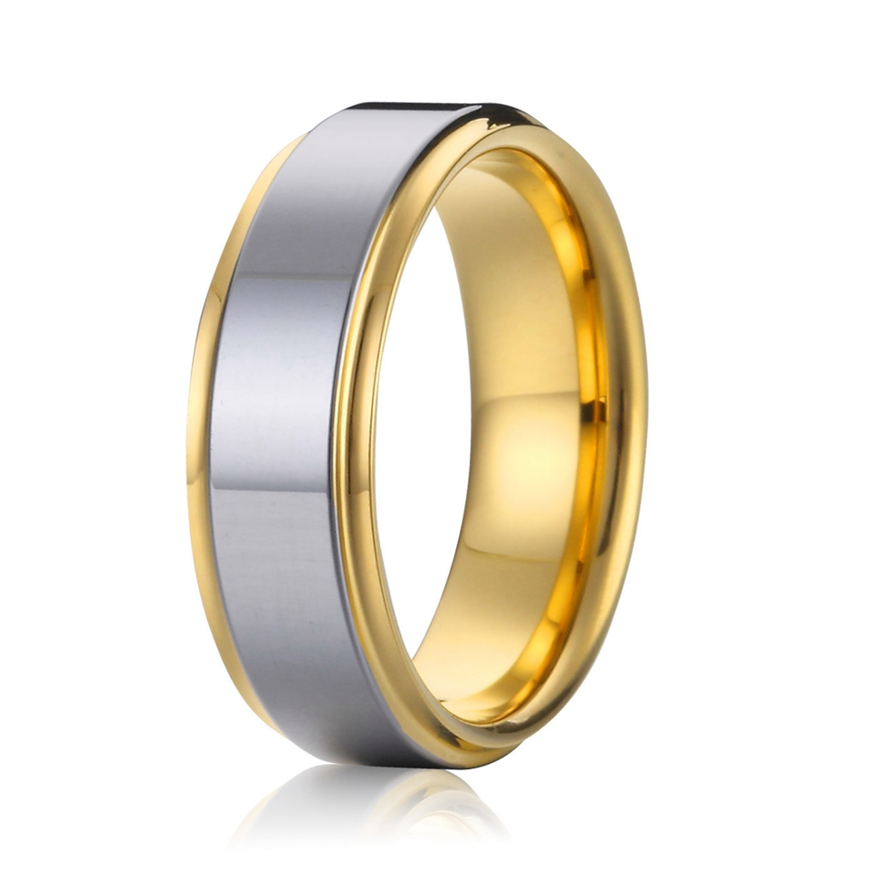high quality bicolor gold colour titanium steel wedding bands promise rings for men and women anel alliances USA size 5-15