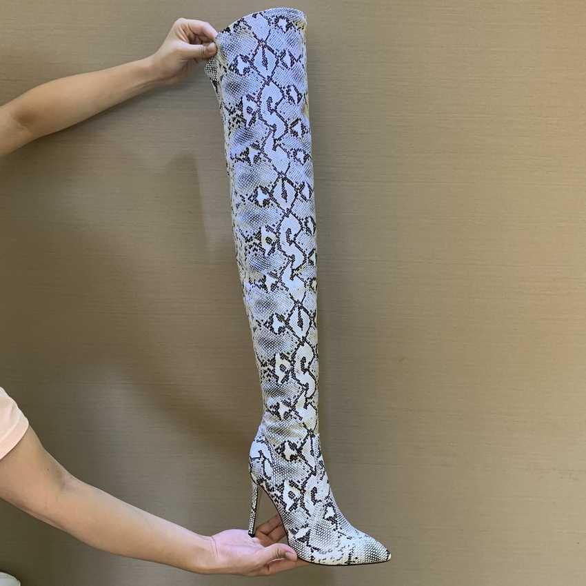 Đùi Cao Cấp Giày Gợi Cảm Trên Đầu Gối Giày cho Nữ Giày Nữ Da Rắn Mũi Nhọn 11CM Mỏng Giày Cao Gót Dài giày Bottine Femme
