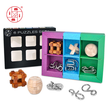 цена MITOYS 6pcs/set Metal wooden Puzzle Wire IQ Mind Brain Teaser Puzzle Kids Game Toys for Children Adults Montessori Toys gifts онлайн в 2017 году