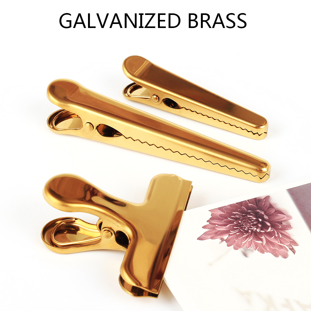 Fromthenon Vintage Clamp Brass Rose Gold Wide Paper Clips Metal Binders Clip Travelers Notebook Decorative Office Stationery