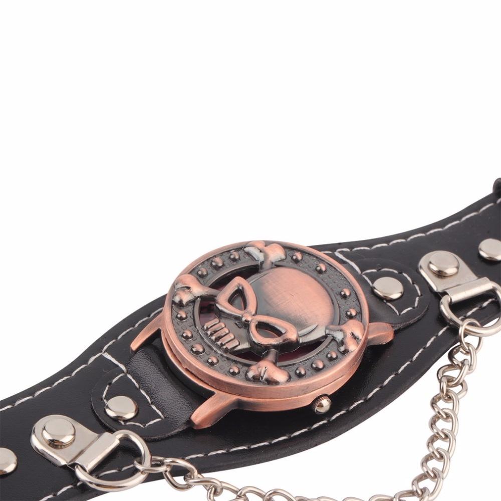 Skull Cover Quartz Watch for Men Women PU leather Wristwatches Bracelet Watch Men s Biker Metal