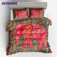 AHSNME Bohemian Red Elephant Quilt cover pillowcase Europe Australia United States Multi size Bedding set King Quilt Set