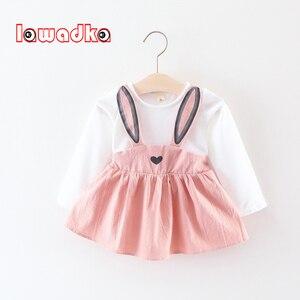Lawadka bonito coelho orelha vestido de bebê algodão dos desenhos animados do bebê meninas vestido de festa outono bebê princesa vestidos infantis