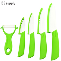 Fine 5pcs Set Ceramic Kitchen Knives 3 4 5 6 Inch Ceramic Knife Peeler Non Slid