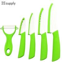 Fine 5pcs Set Ceramic Kitchen Knives 3 4 5 6 Inch Ceramic Knife Peeler Non Slid