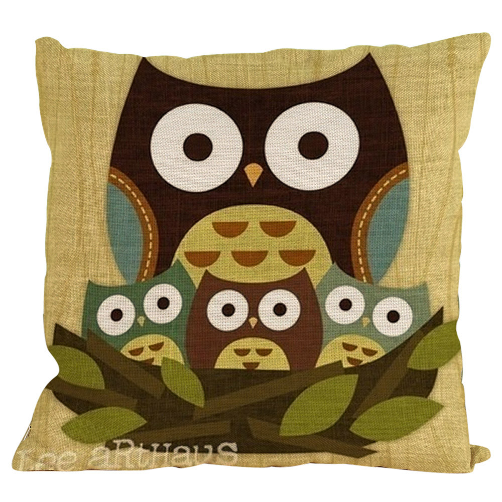 45*45CM Cartoon Style New Owl Cotton Linen Throw Pillow CoverSofa Chair Home Decor Cushion Cover Decorative Pillowcase Kids Gift