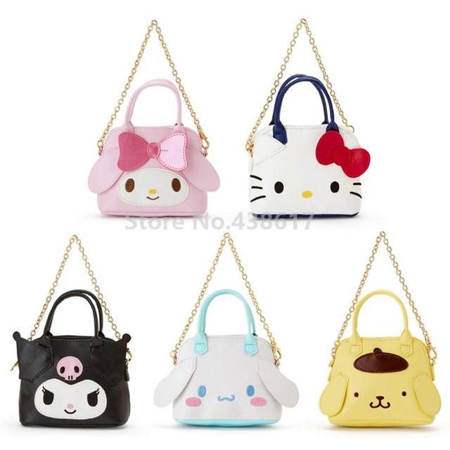 348c37a71 Cute Hello Kitty My Melody Kuromi Dog Girls Kids Mini PU Leather Coin Purse  Wallet Small Chain Sling Bag Tote Handbag Bags