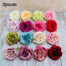 Kyunovia 5 шт. 10 см шелк Rose Искусственные цветы Heads DIY цветок мяч домашний сад свадебной украшения, искусственные цветы h10