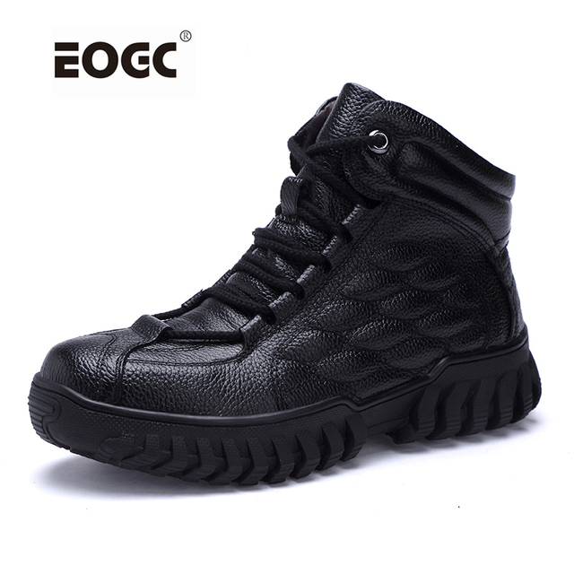Super Warm With Fur Men Winter Boots Leather Waterproof Rubber Ankle Snow Boots Fashion Male Autumn And Winter Shoes