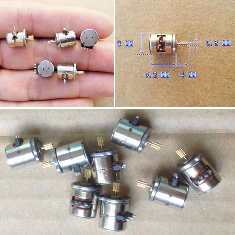1pc New Mini Micro Stepper Motor Small 8x9.2mm 2-phase 4-wire Stepper Motor With Copper Gear