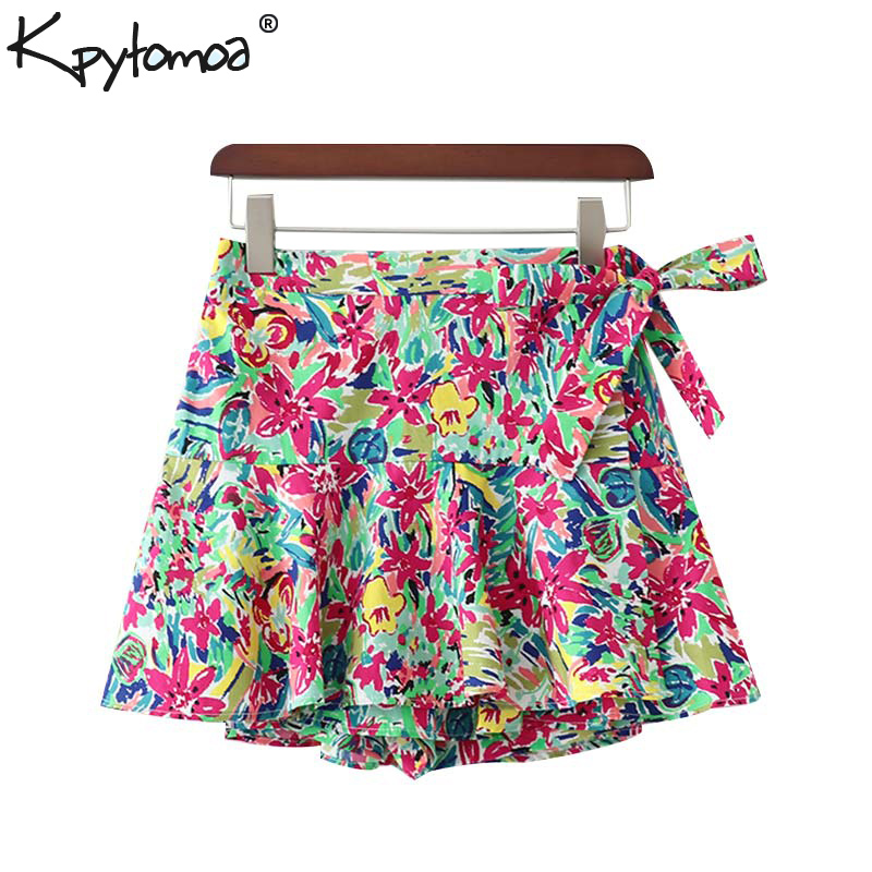 Vintage Chic Floral Print Bow Tie Shorts Skirts Women 2020 Fashion Elastic Waist Side Zipper Shorts Casual Pantalones Cortos