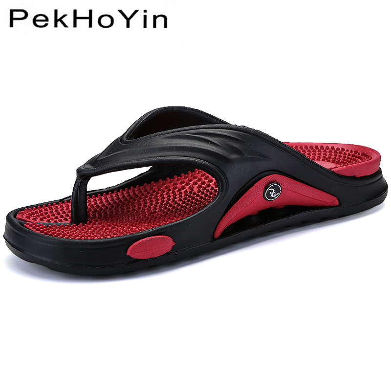 2019 Men Slippers Shoes Big Size Fashion Massage Summer Water Male Sandals High Quality Flat Beach Shoes Non-slip Mens Flip Flop