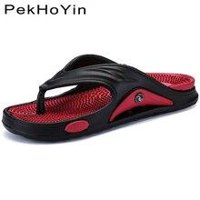 купить 2019 Men Slippers Shoes Big Size Fashion Massage Summer Water Male Sandals High Quality Flat Beach Shoes Non-slip Mens Flip Flop по цене 611.12 рублей