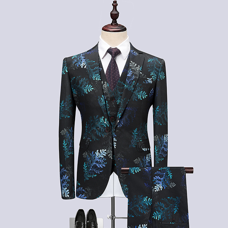 Slim Wedding Large Three Suit Groom Stage Costume Business Print Dress Fashion Dress Personalized Piece 6XL Banquet Mens Size