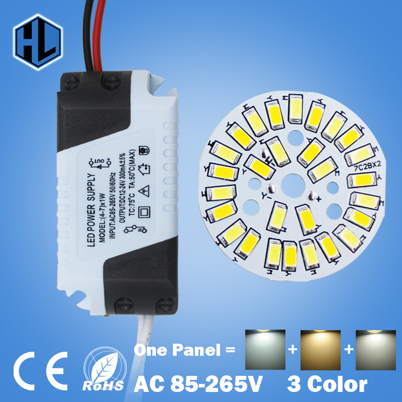 1pcs 3W 5W 7W 9W 12W 18W SMD5730 Warm/Cold White two color in panel + Segmented control LED driver power supply for downlight