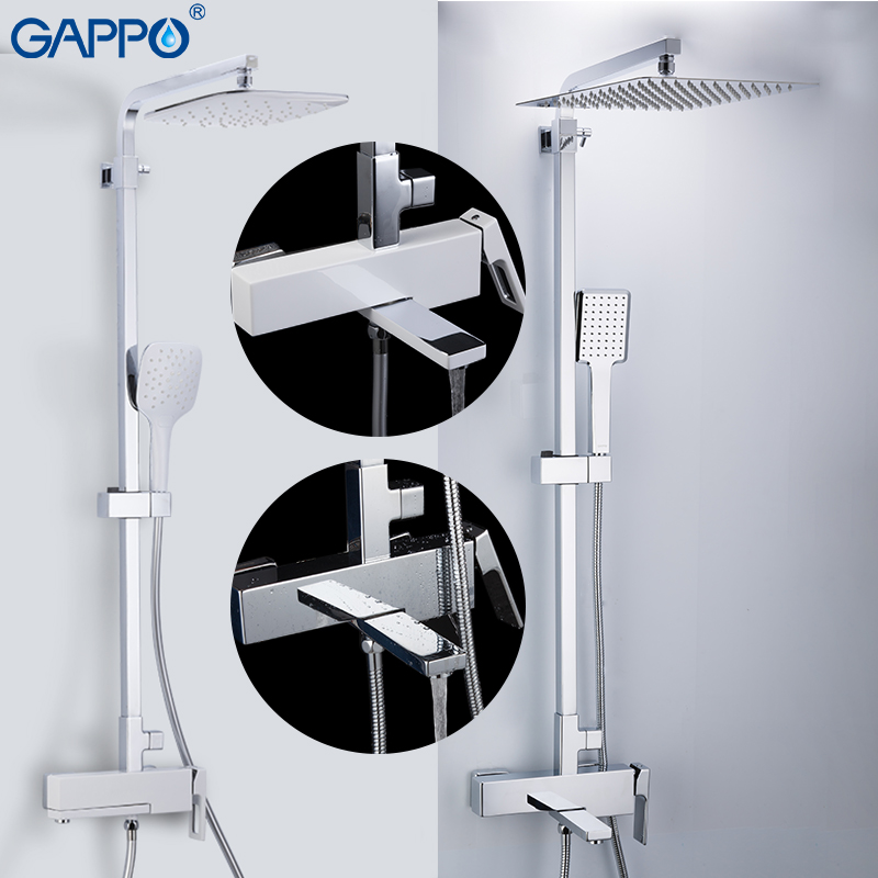 GAPPO Shower Faucets brass bathroom shower sets wall mounted massage shower  heads set chrome bath mixer bathroom shower faucet 02fffcd2028a