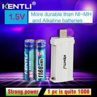 KENTLI 2 pièces pas d'effet mémoire 1.5 v 1180mWh AAA lithium batteries rechargeables li-ion batterie + 2 canaux chargeur de lithium