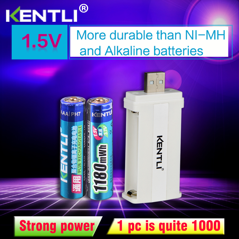 KENTLI 2pcs no memory effect 1.5v 1180mWh <font><b>AAA</b></font> lithium li-ion rechargeable batteries battery +2 channels lithium charger image