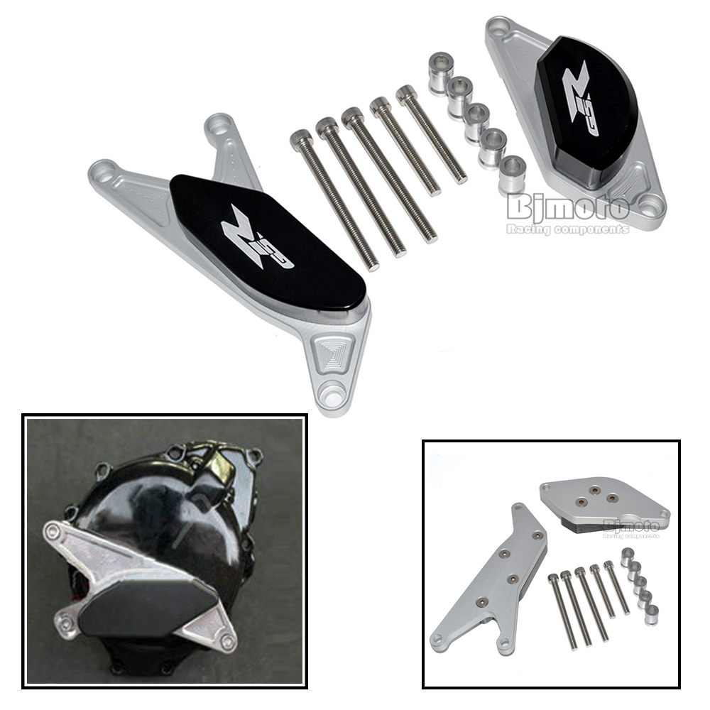 ФОТО High Quality Aluminum CNC Motorcycle Engine Protector Guard Cover Frame Slider Set For Suzuki GSR 600 2006-2010