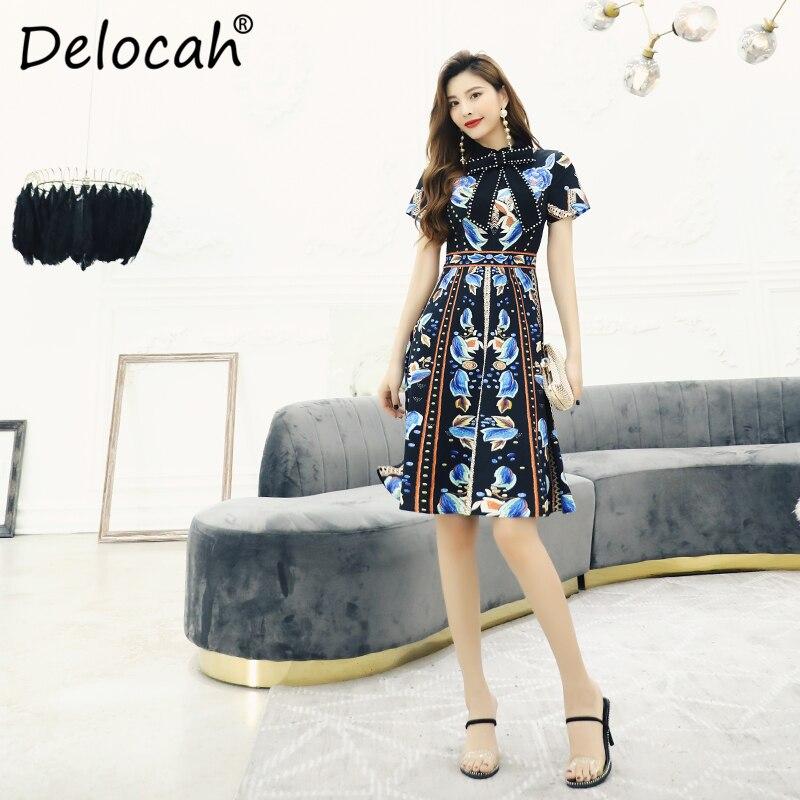 Delocah Women Spring Summer Dress Runway Fashion Designer Short Sleeve Gorgeous Crystal Beading Vintage Printed A