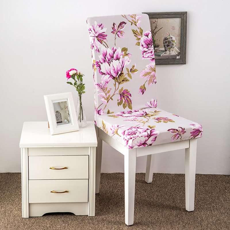 GLSNJS Flowers Printing Stretch Chair Covers 100% Polyester Office Chair  Covers Pastoral Style Chair Slipcovers