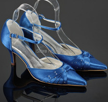 Wedopus Pointed Toe Ankle Wrap Blue Satin Ladies Bridal Shoes with Rhinestones