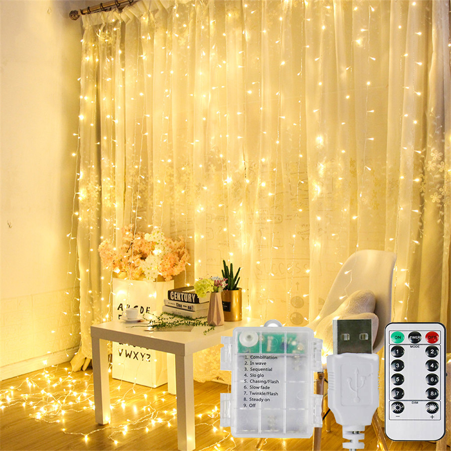 Thrisdar 3X3M USB/AA Battery Powered Icicle Curtain Fairy Light String 300LED Wedding Christmas Window Fairy Garland With Remote
