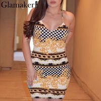 Glamaker Halter Floral Plaid Print Bandage Summer Dress Women Lace Up Bodycon Dress Evening Party Backless