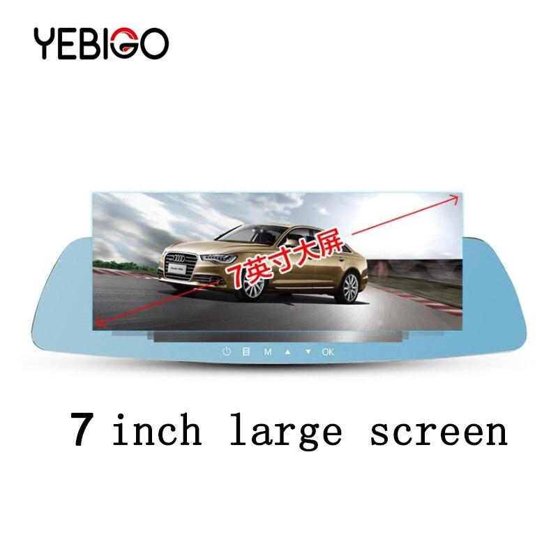 YEBIGO kamera samochodowa podwójny obiektyw 7.0 cal kamera samochodowa kamera na deskę rozdzielczą Full HD 1080P Dashcam lusterko wsteczne z widokiem z kamery z tyłu rejestrator 7
