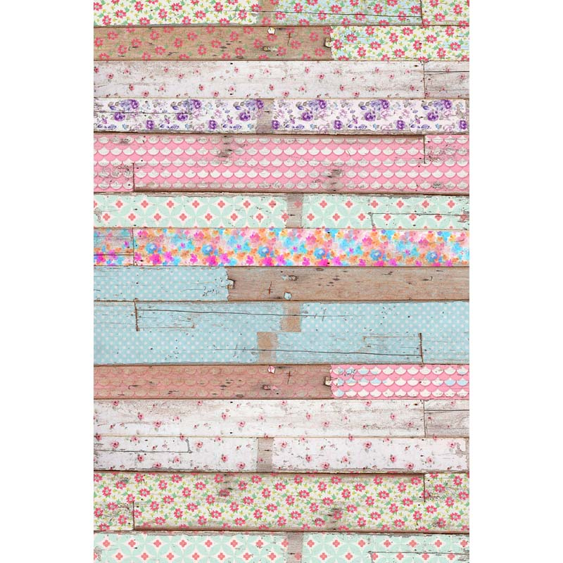 Custom Vinyl Photography Background Colored Flowers Overlaying Newborn Wooden Floor Children Backdrop for Photo Studio F 2676 in Background from Consumer Electronics
