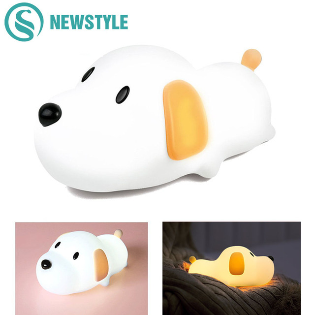 Cute Dog Lamp Creative Puppy Silicone LED Night Light Bedroom Bedside Night Lamp Rechargeable For Baby Children Gift