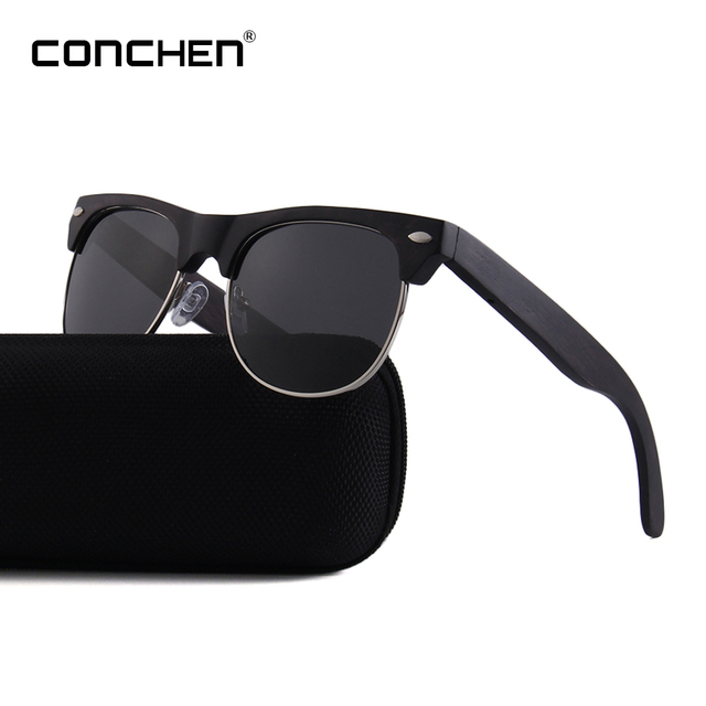 bce614ee65 CONCHEN Brand Red Rose Wood Sunglasses For Men and Women Semi-Rimless Style  Polarized Sun Glasses  W3032