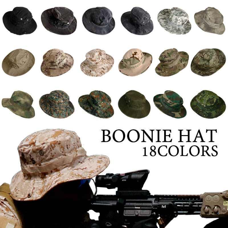 التمويه قبعة التكتيكية العسكرية Boonie قبعة الجيش الأمريكي قبعات كامو الرجال في الهواء الطلق الرياضة الشمس غطاء دلو الصيد التنزه الصيد القبعات