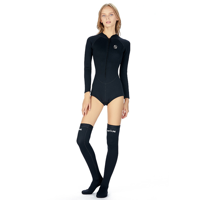 SLINX 2mm Neoprene Anti-UV Keep Warm Women Long Sleeve Bikini Wetsuit Stockings Long Socks Swimwear Front Zipper Diving Suit