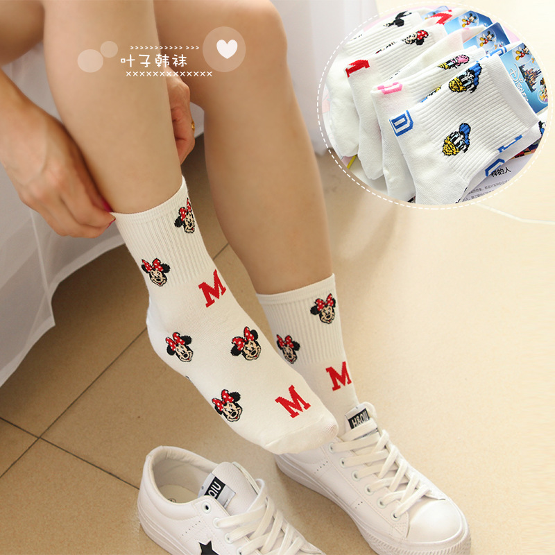 Funny cartoon mouse   socks   Duckling fashion casual cute women   sock   Four seasons wild comfortable breathable cotton white sokken