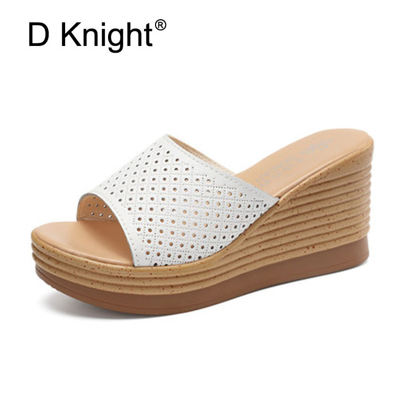 New Women Open Toe Wedes Slippers Fashion Cut-outs Platform High Heels Wedge Slides Comfortable Lady Cow Leather Beach Slippers